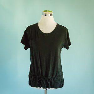 Madewell Small Black Drawstring Waist Knit Top